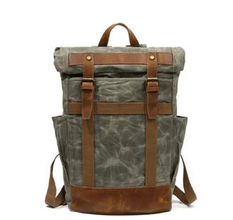EAZO - Large Roll Top Waxed Canvas Backpack In Green