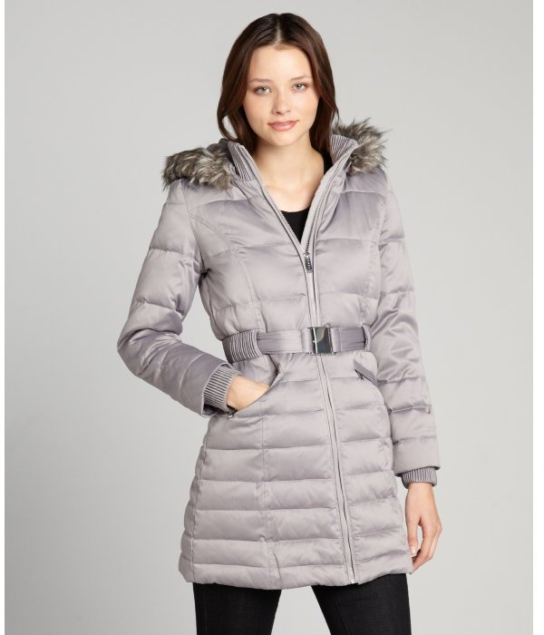 DKNY silver quilted fur trimmed belted waist three quarter jacket