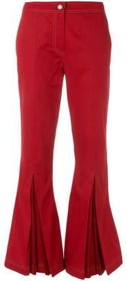 Marco De Vincenzo top stitch kick flare trousers