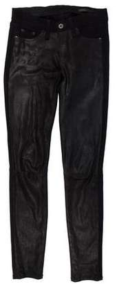 Rag & Bone Leather-Panelled Low-Rise Skinny Jeans