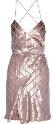 Mason by Michelle Mason Open-back Devore-velvet Mini Wrap Dress