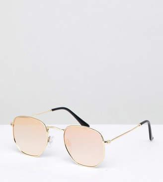 South Beach Hexagonal Lens Mirrored Sunglasses