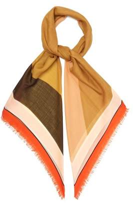 Loewe Puzzle Print Wool Scarf - Womens - Orange