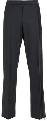 Valentino - Side Striped Wool Blend Trousers - Mens - Black