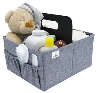 Sorbus Baby Diaper Caddy with Handle, Storage for Diapers, Baby Wipes, Supplies, etc - Portable, Foldable, Removable Compartment