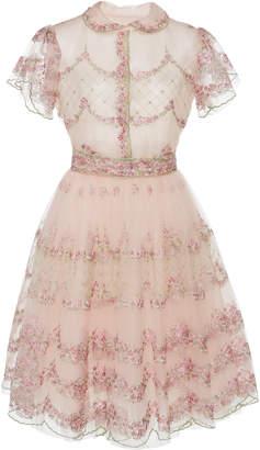 Luisa Beccaria Embroidered Cotton Blend Mini Dress
