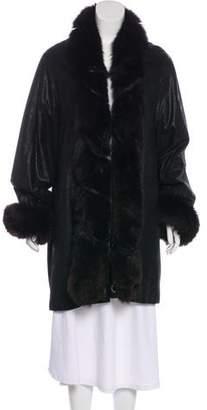 Christian Dior Knee-Length Fur-Trim Coat