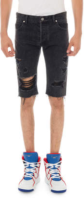 Balmain Men's Ripped Distressed Denim Shorts