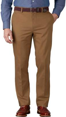 Charles Tyrwhitt Camel Slim Fit Flat Front Non-Iron Cotton Chino Pants Size W32 L34