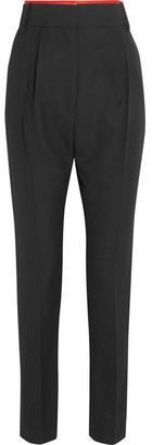 Haider Ackermann - Silk Satin-trimmed Wool Slim-leg Pants - Black $1,035 thestylecure.com