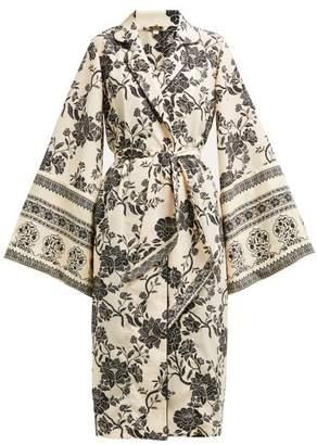Johanna Ortiz Two Seasons Sash Tie Georgette Kimono Style Jacket - Womens - White Black