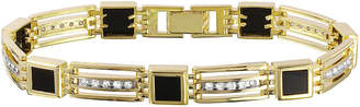 FINE JEWELRY Mens 3/4 CT. T.W. Diamond and Genuine Onyx 10K Yellow Gold Chain Bracelet