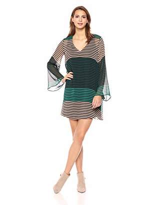 ECI New York Women's Striped Tunic Long Sleeve Flowy Chiffon Dress with v Neck