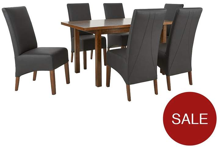 Evelyn 120-150 Cm Solid Wood Extending Dining Table + 6 Eternity Chairs