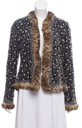Oscar de la Renta Fur-Trimmed Bead Embellished Jacket