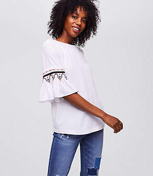 LOFT Petite Pleated Bell Sleeve Top