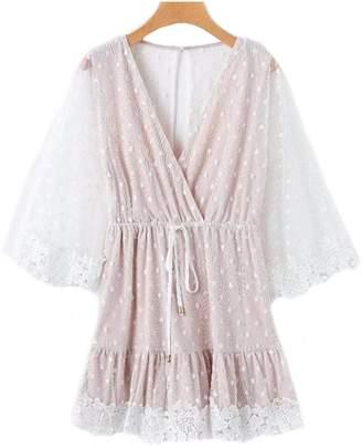 Goodnight Macaroon 'Eliza' Polka Dot Lace Mesh Mini Dress