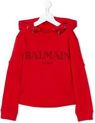 Balmain Kids logo printed drawstring hoodie