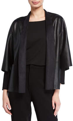 Natori Faux-Leather Short Jacket with Pockets