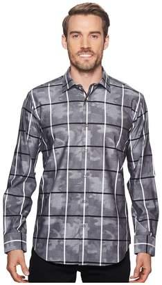 Bugatchi Shaped Fit Windowpane Camo Woven Shirt Men's Clothing