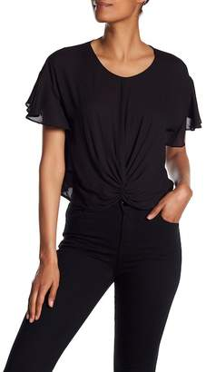 Lush Flutter Sleeve Twisted Front Tee