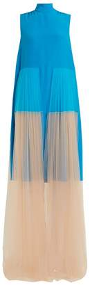 DELPOZO Tulle-panelled silk dress