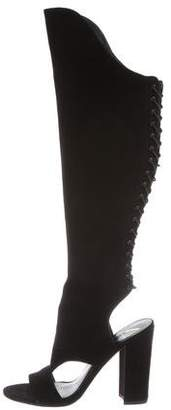 Brian Atwood Peep-Toe Over-The-Knee Boots