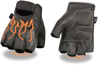 Shaf MEN'S MOTORCYCLE BLACK ORANGE FLAMES DURABLE FINGERLESS GLOVES NEW BIKE LEATHER (XL)