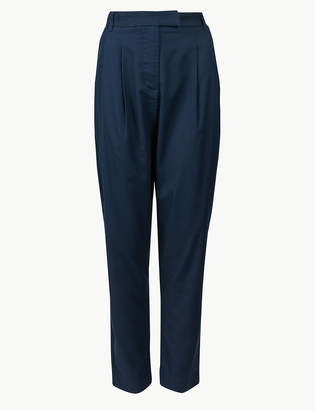 Marks and Spencer Cotton Blend Ankle Grazer Peg Trousers