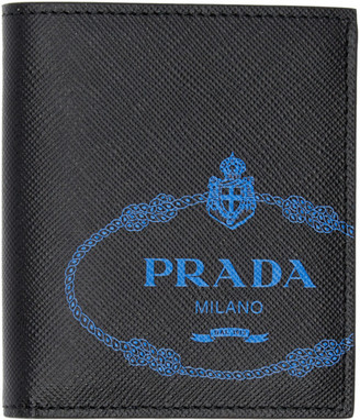 Prada Black and Blue Saffiano Wallet
