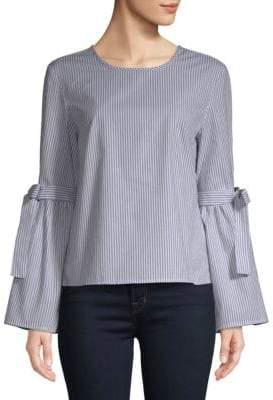 Stripe Bell-Sleeve Cotton Top