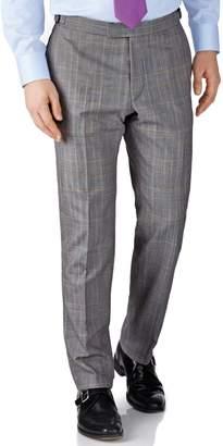 Charles Tyrwhitt Grey Check Slim Fit British Panama Luxury Suit Wool Pants Size W36 L32