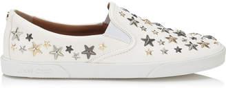 Jimmy Choo DEMI White Leather Slip On Sneakers with Metallic Stars