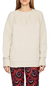 Maison Margiela Women's Slit-Detailed Wool Sweater - Yellow