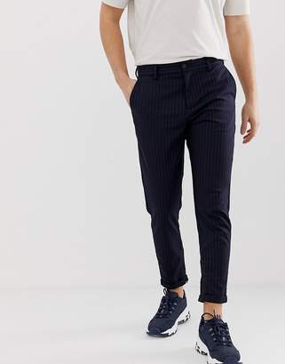 Selected slim tailored pants with zip opening in ankle length