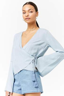 Forever 21 Chambray Bell-Sleeve Top
