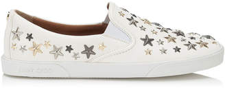 Jimmy Choo DEMI White Leather Slip On Sneakers with Metallic Stars