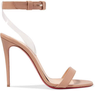 Christian Louboutin Jonatina 100 Pvc-trimmed Leather Sandals - Neutral