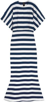 Norma Kamali - Obie Striped Stretch-cotton Jersey Maxi Dress - Navy $265 thestylecure.com