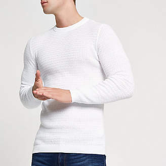 River Island White cable knit muscle fit sweater