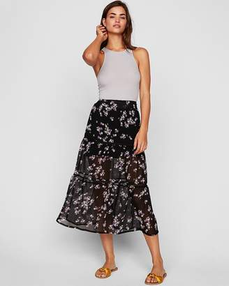 Express Floral Print Tiered Midi Skirt