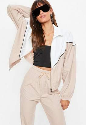Missguided Nude Colour Block Shell Suit Jacket, Nude