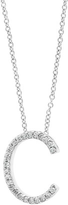 Effy 14K White Gold & Diamond Initial Pendant Necklace