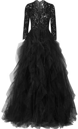 Oscar de la Renta Corded Lace And Ruffled Tulle Gown - Black