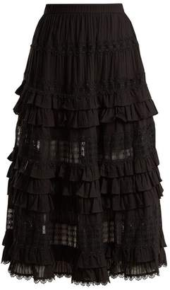 Zimmermann Corsair Lace And Ruffle Trimmed Cotton Skirt - Womens - Black