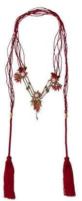 Gucci Embellished Floral Cord Tassel Necklace