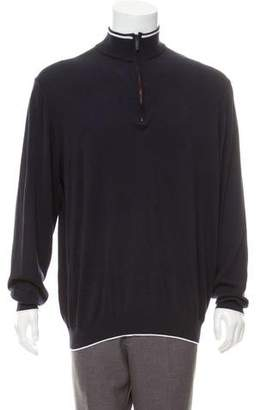 Burberry Half-Zip Logo Embroidered Sweater