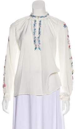 Vilshenko Silk Embroidered Blouse