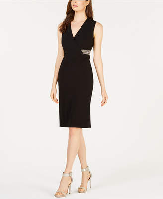 Calvin Klein Embellished Surplice Sheath Dress