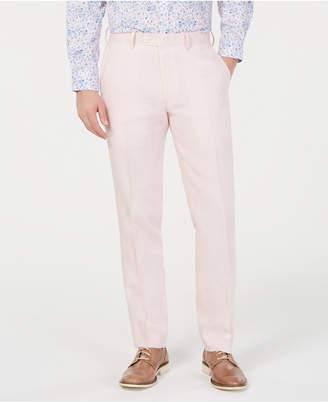 Bar III Men Slim-Fit Linen Pink Suit Pants